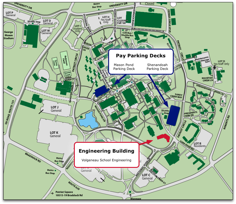 Map of GMU Campus showing the Engineering building and two nearby parking decks