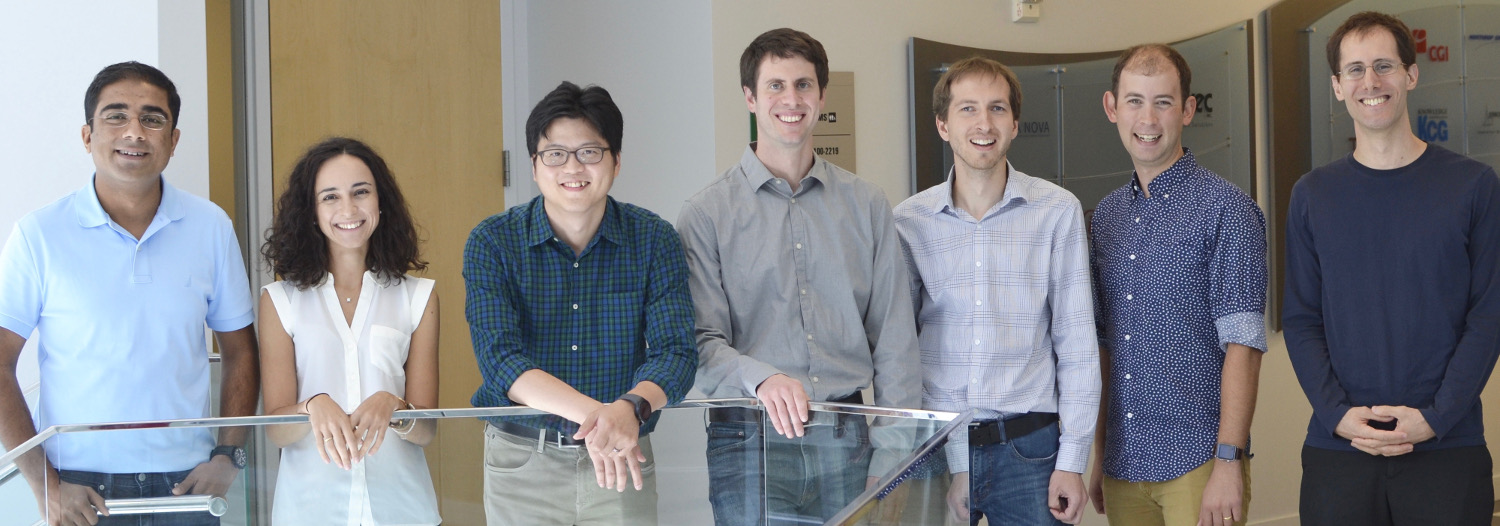 Slide Image: Assistant professors Parth Pathak, Foteini Baldimtsi, Song Min Kim, Dov Gordon, Thomas LaToza, Jonathan Bell, and Yotam Gingold